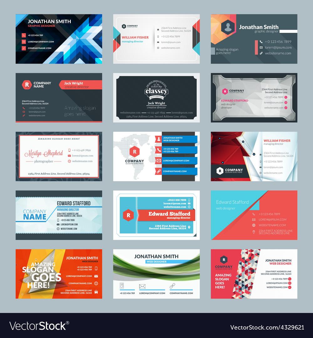 Set of modern creative business cards vector