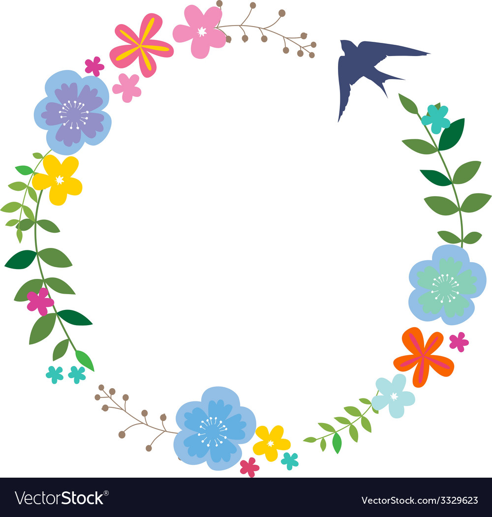 Floral wreath with swallow vector