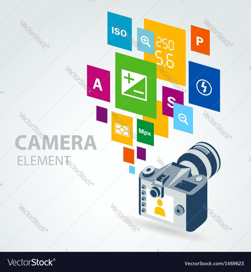 Photo camera element icons vector