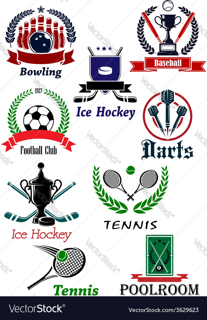 Sporting icons emblems and symbols vector