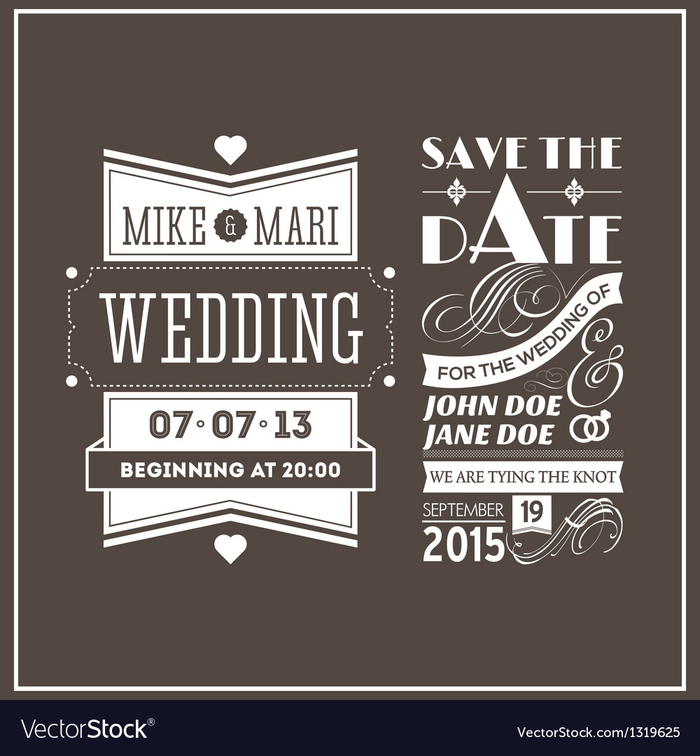 Wedding stamps brown vector