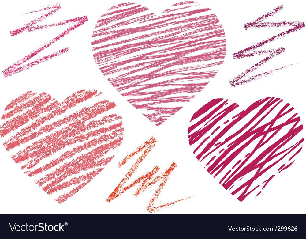 Abstract set hearts chalk drawing vector