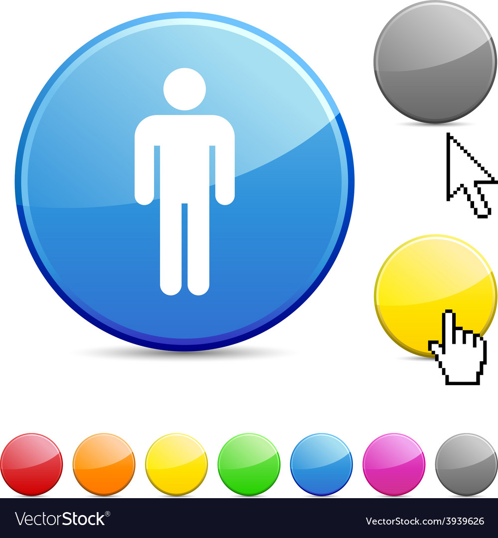 Male glossy button vector