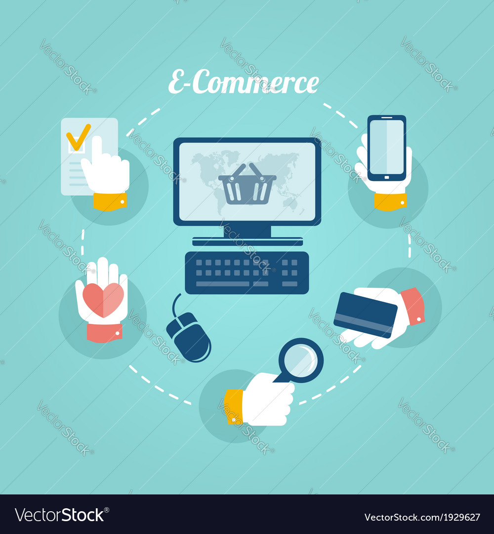 Flat design concept of online shop and e commerce vector