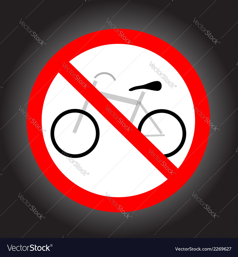 No bike allowed sign vector