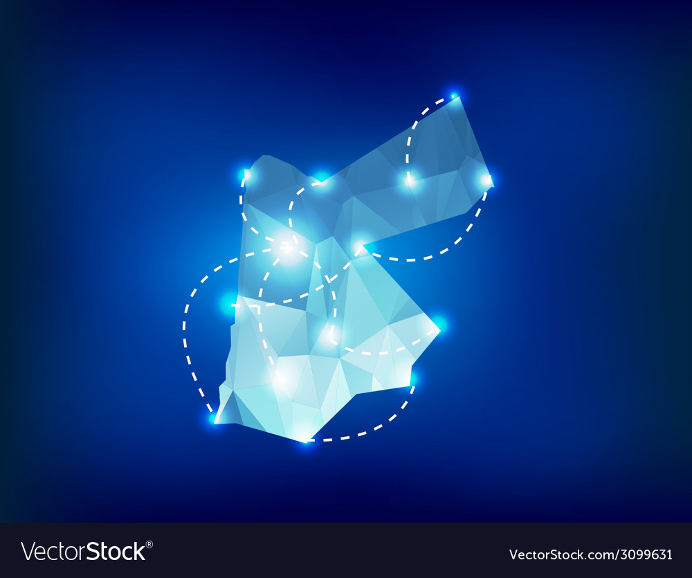 Jordan country map polygonal with spot lights vector