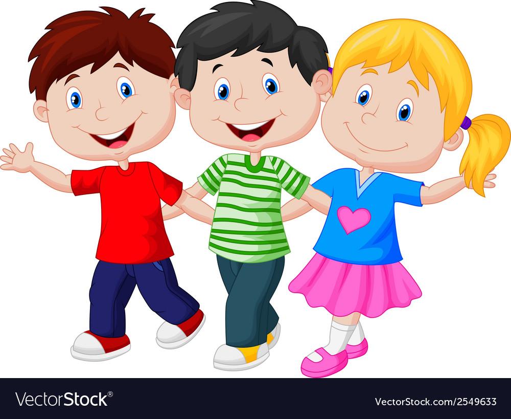 Happy young children cartoon vector
