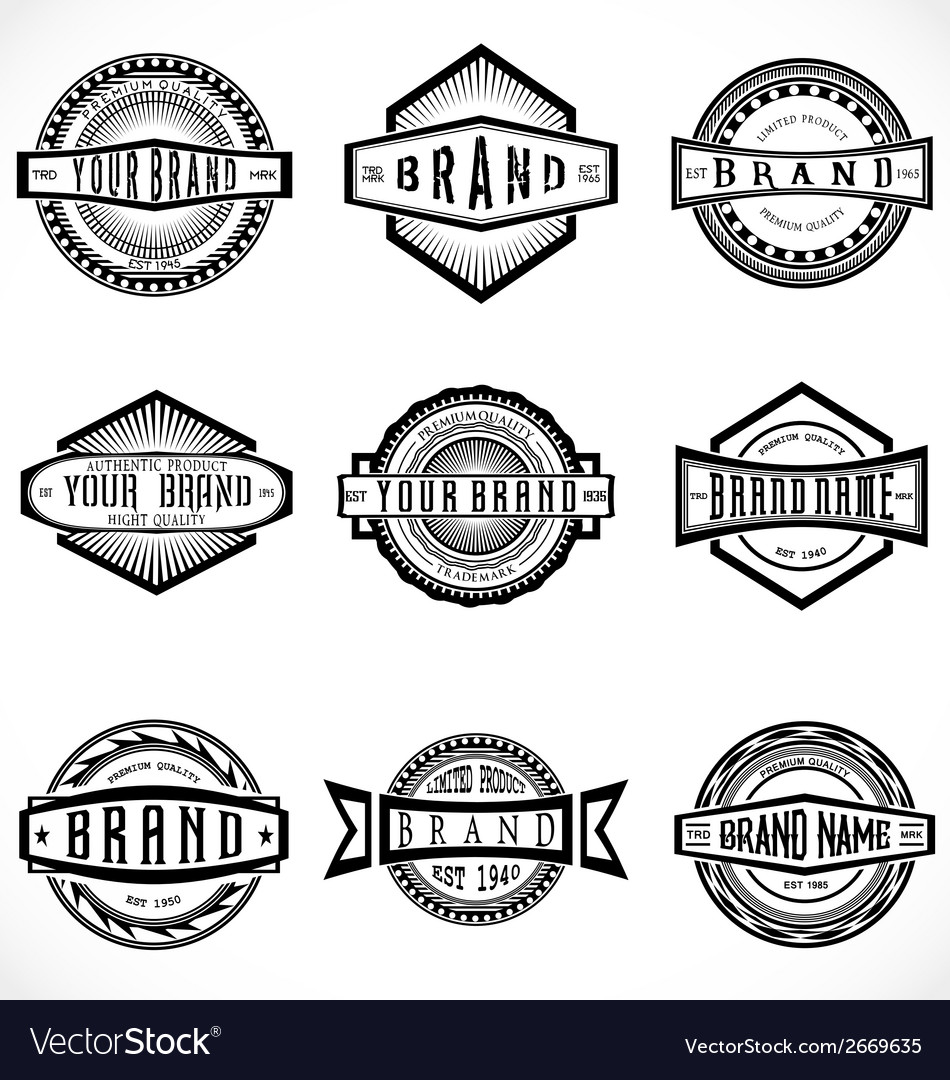Retro brand labels vector
