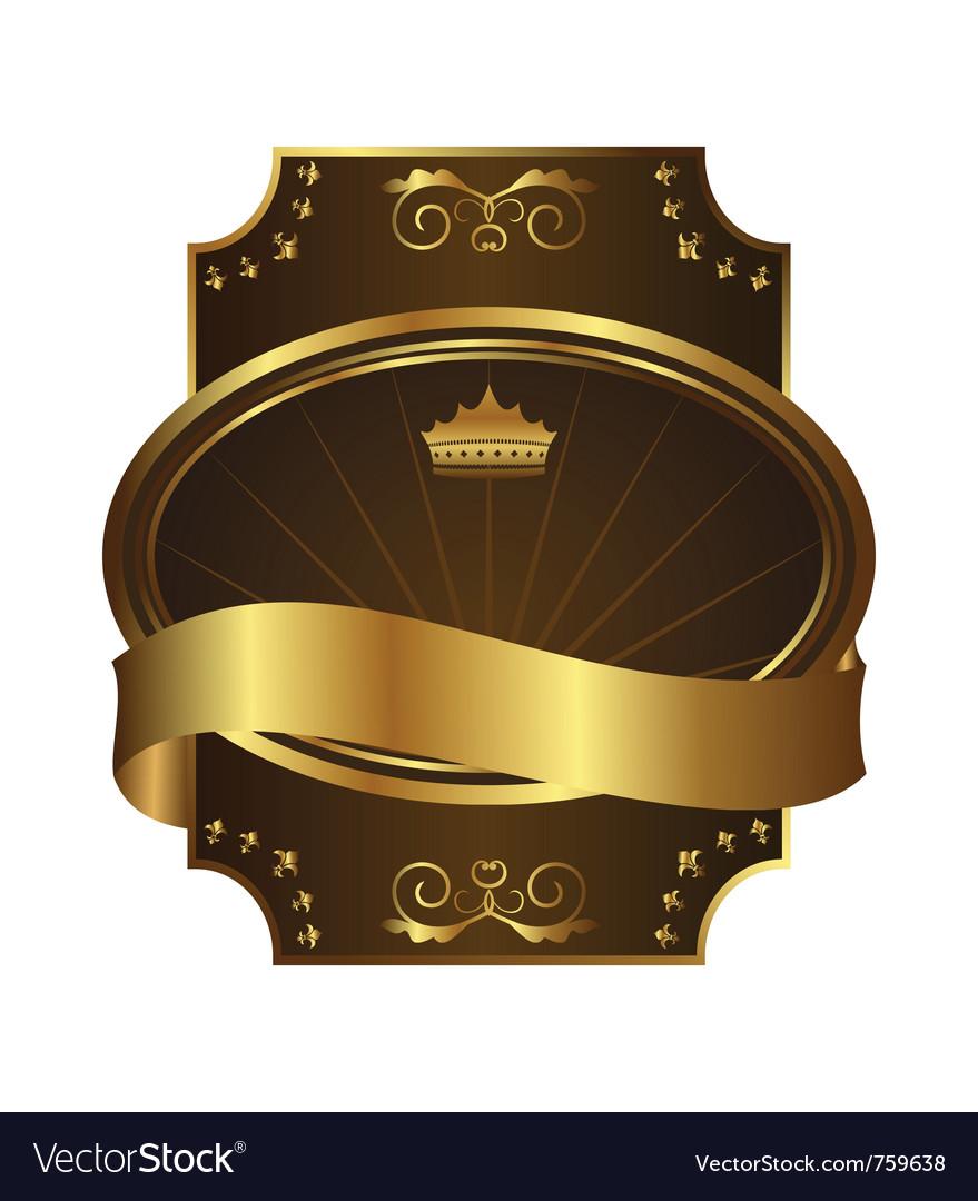 Golden royal label on black background with corner vector