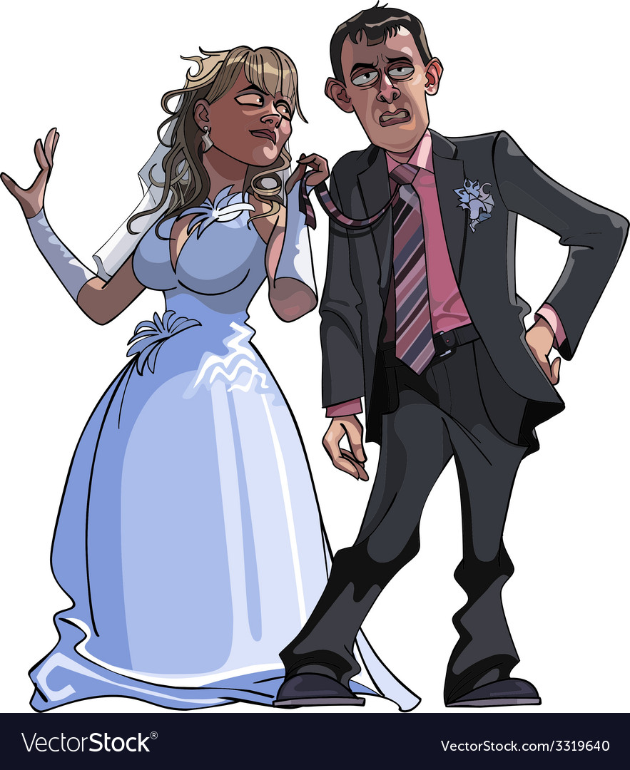 Caricature cartoon groom and bride vector