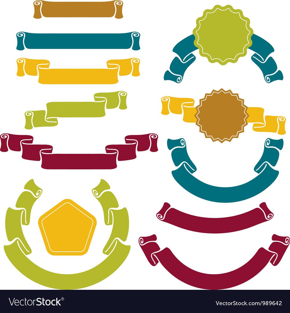 Retro ribbons labels set vector