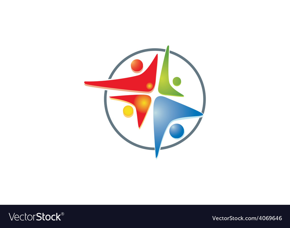 Happy people connection group logo vector
