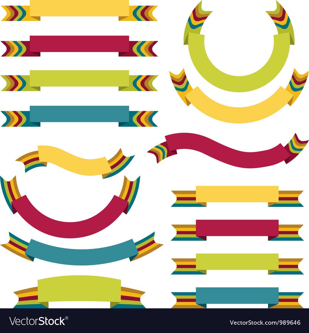 Ribbons labels set vector