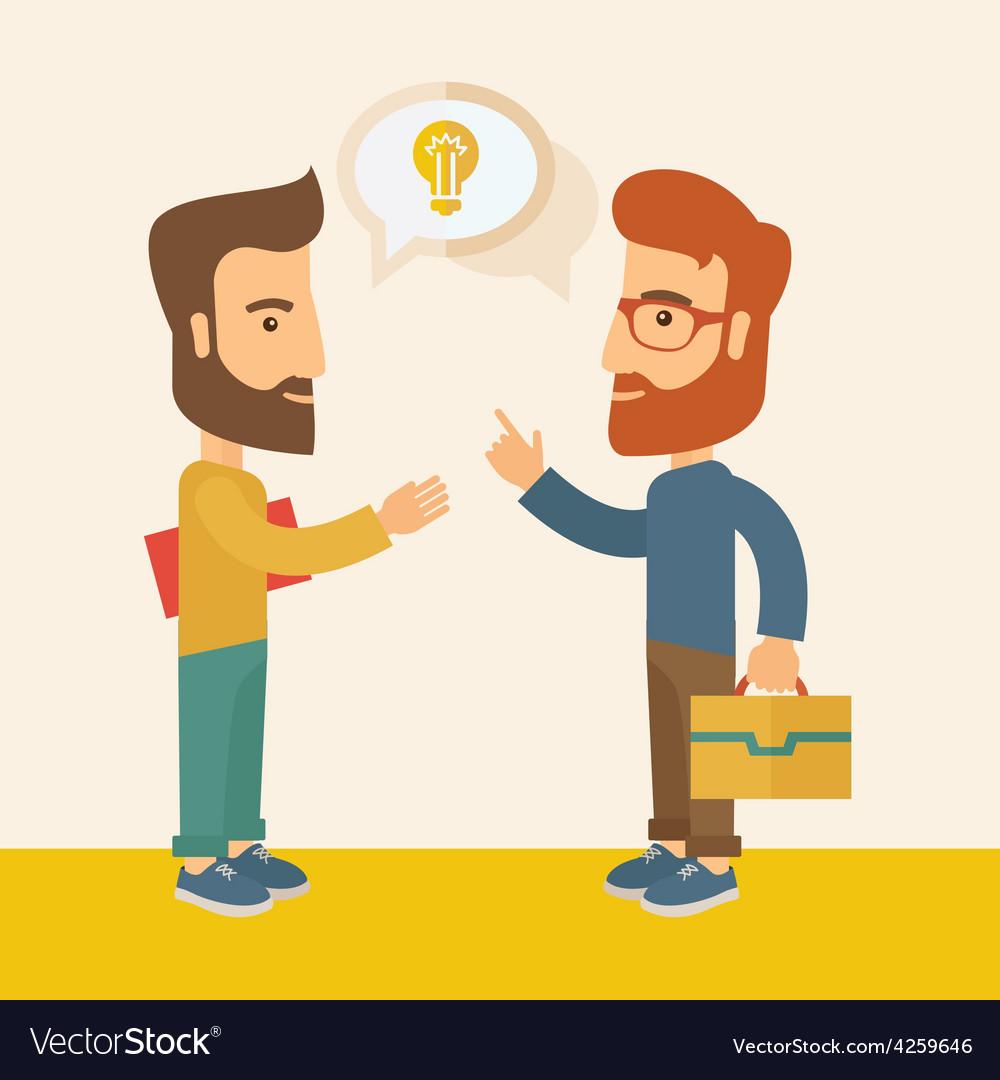 Two men sharing ideas vector