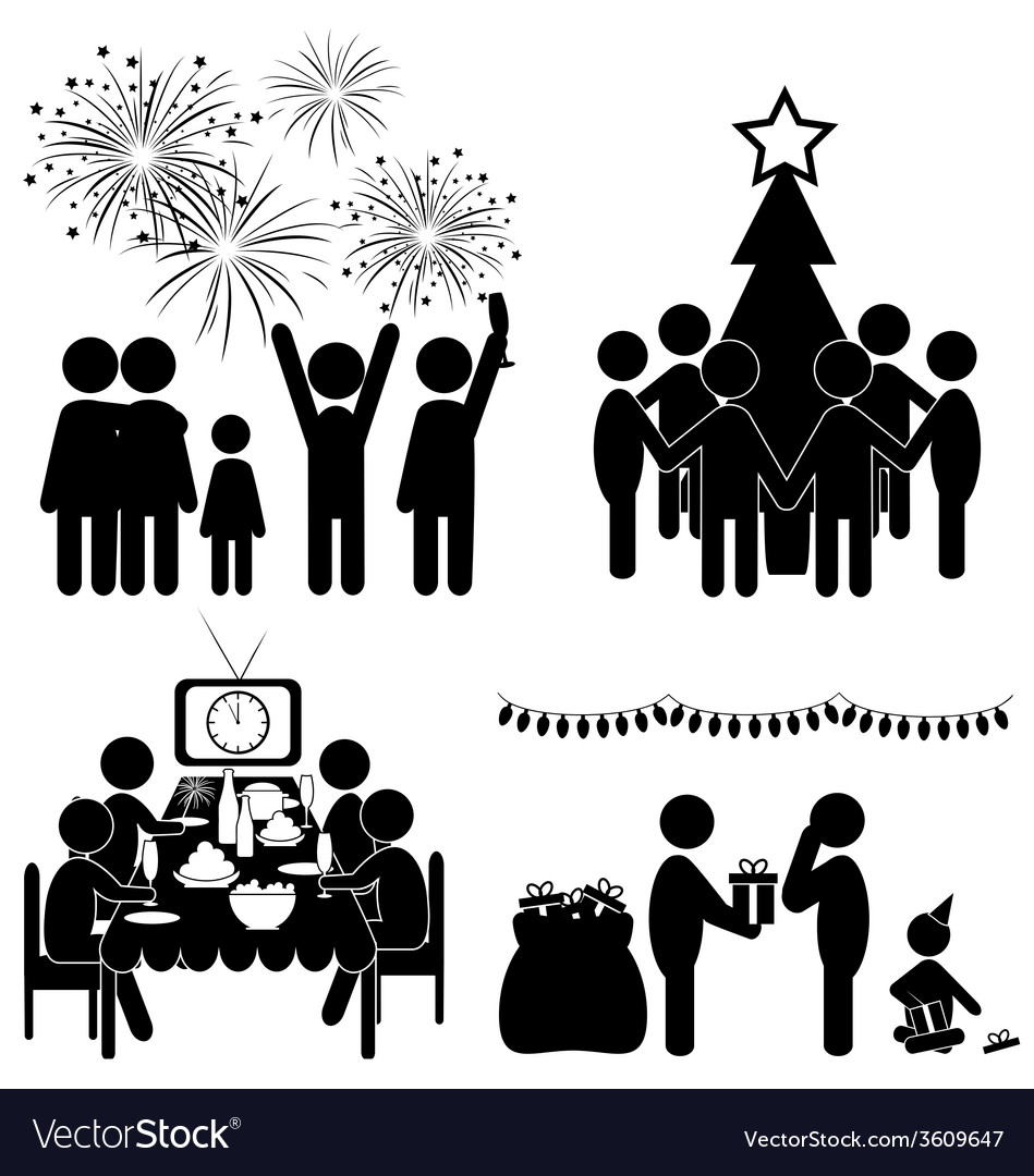 Set of christmas flat icons isolated on white vector
