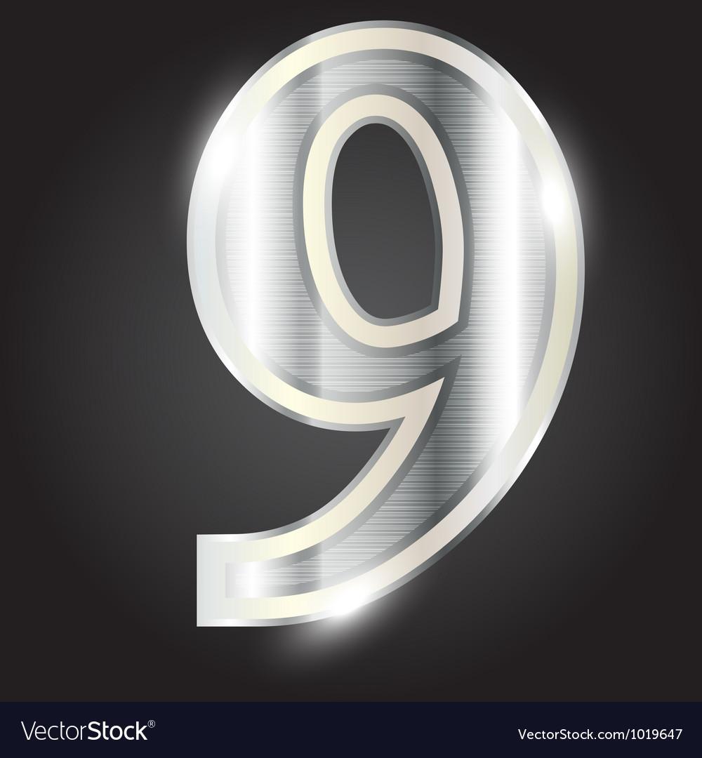 Silver metallic number vector