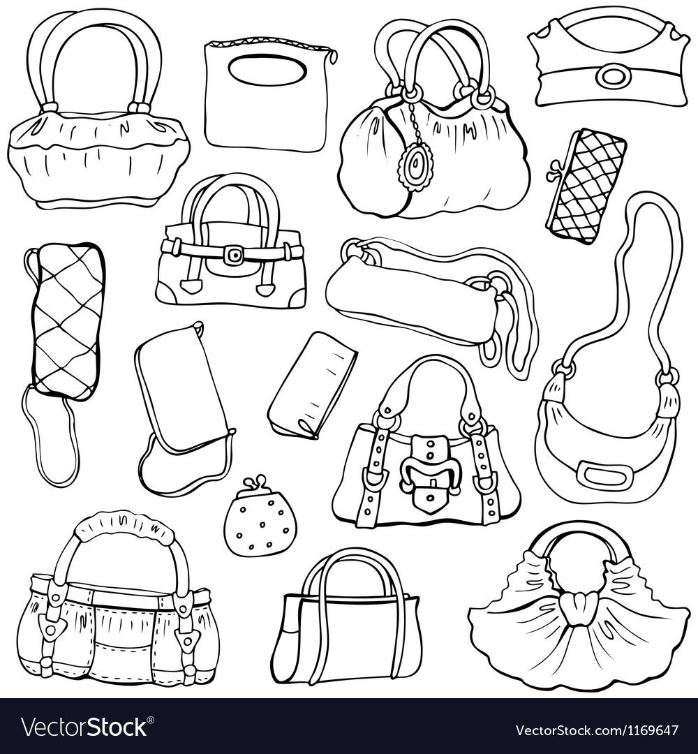 Womens handbags hand drawn set 2 vector