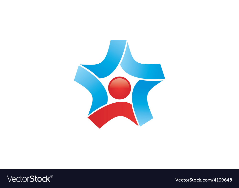 Star circle ribbon business logo vector