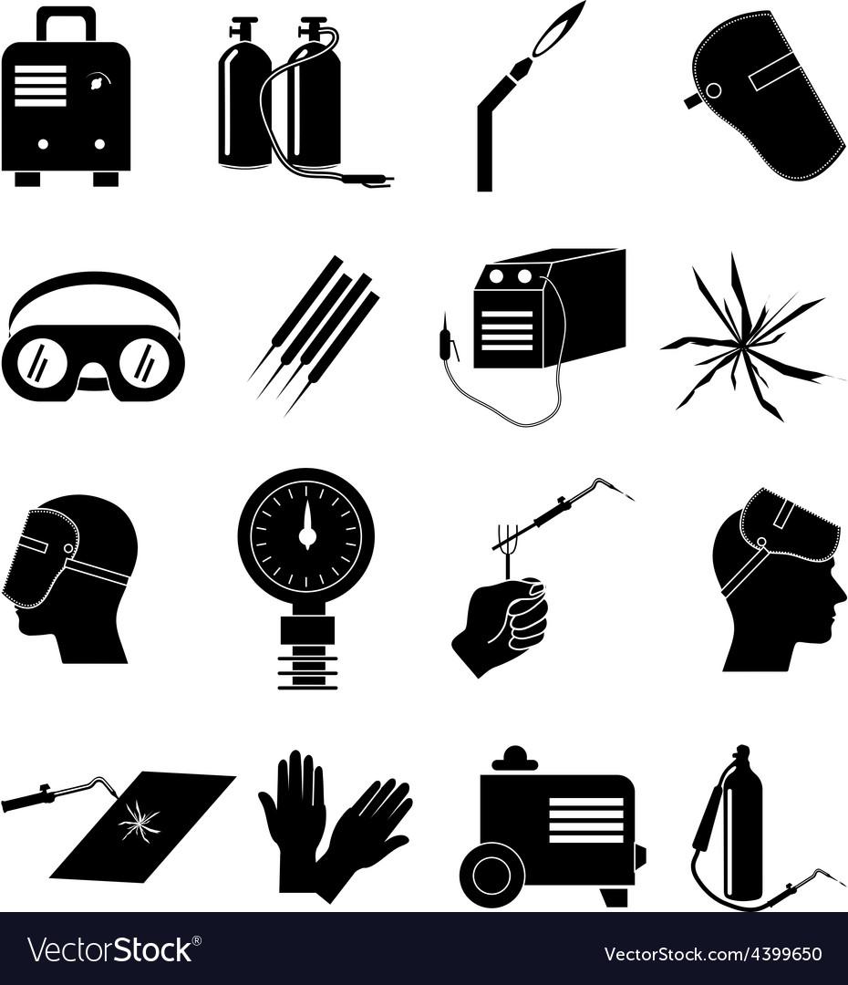 Welding work icons set vector