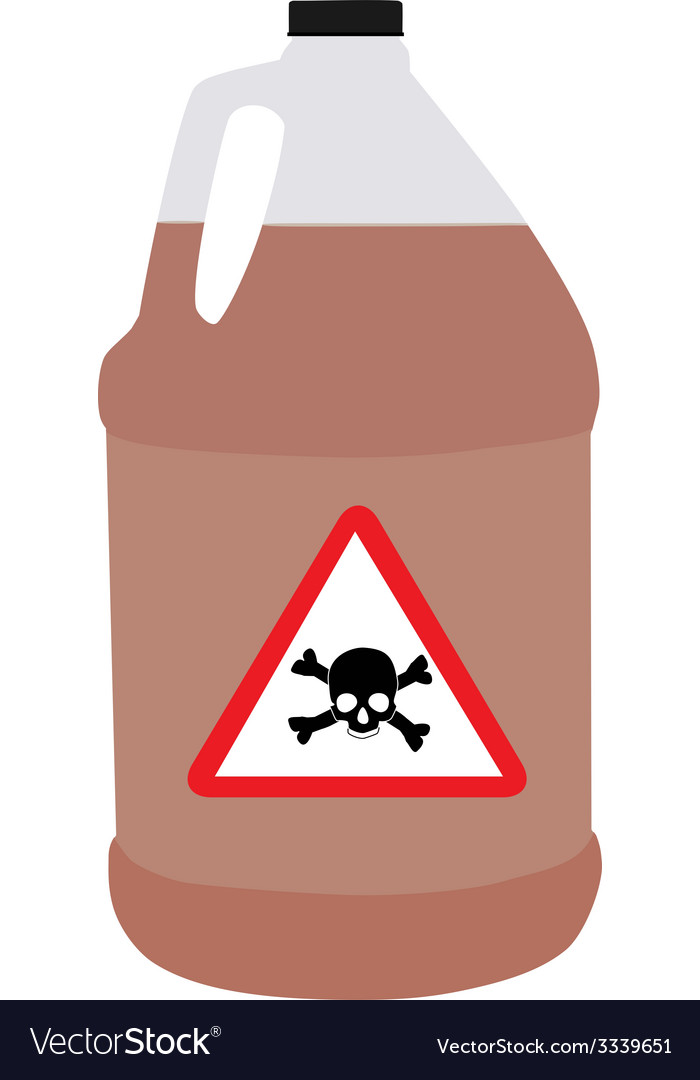 Bottle with biohazard and toxic symbol vector