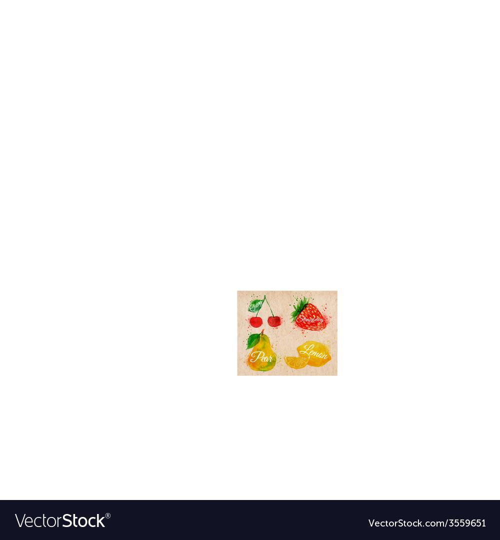 Fruit watercolor cherry lemon strawberry pear in vector