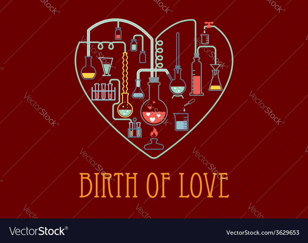 Heart shape with chemical elements vector