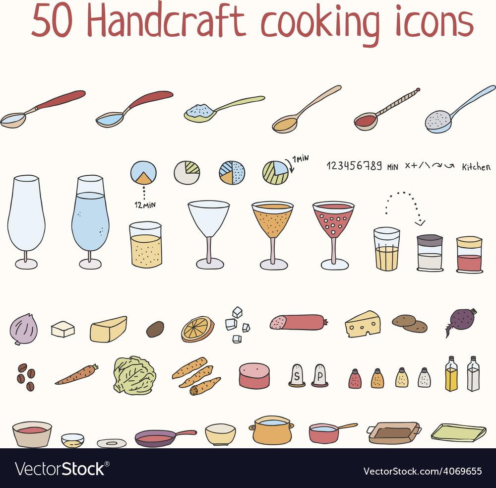 Handcraft cooking icons set vector