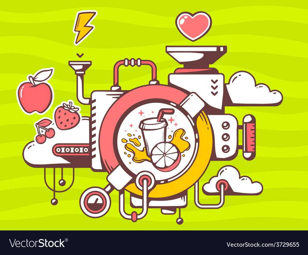 Mechanism to make fresh fruit juice and r vector