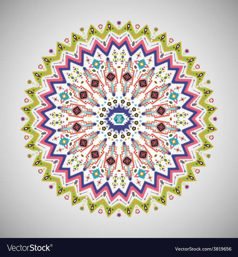 Colorful decorative element in aztec style vector
