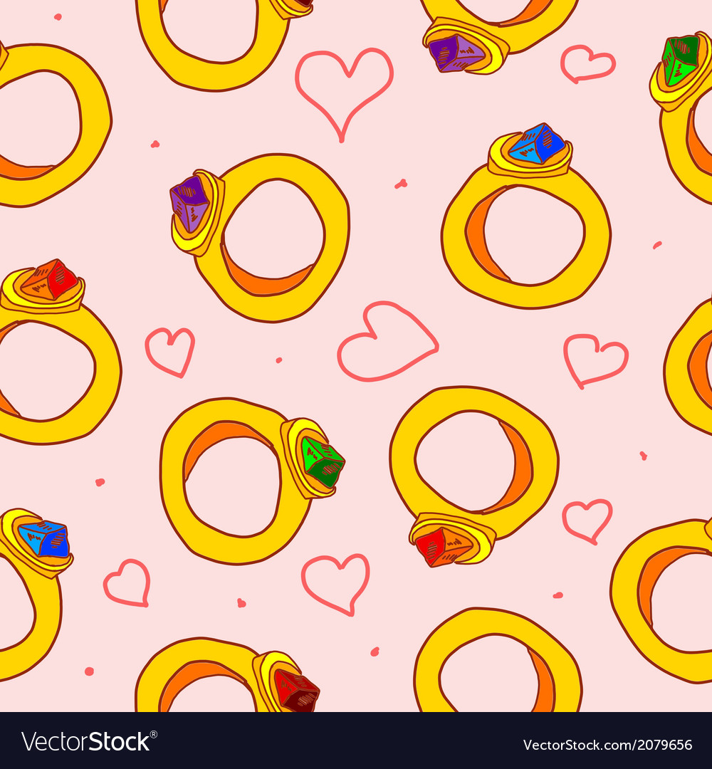 Seamless pattern with hearts and rings vector