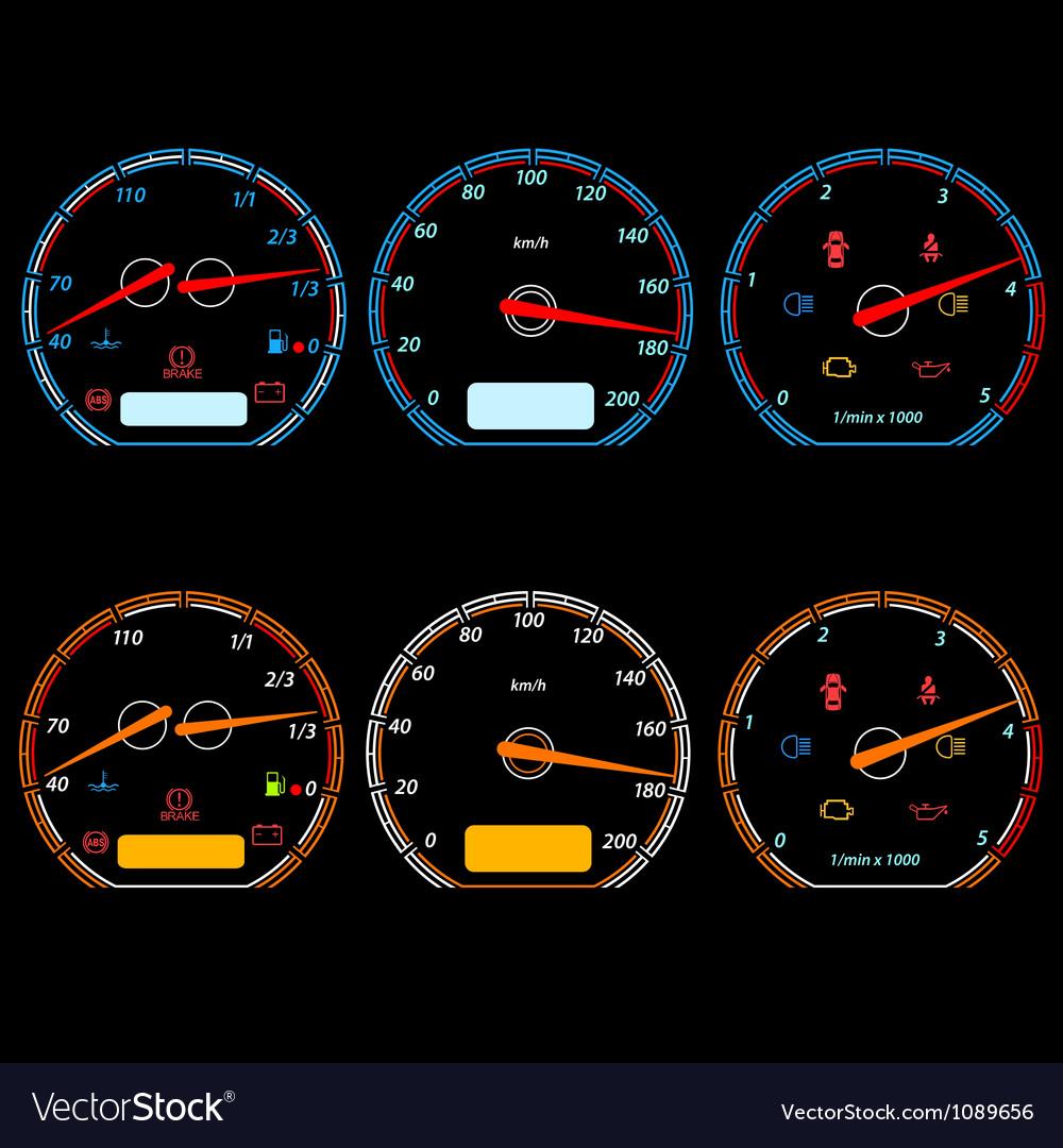 Set of car speedometers for racing design vector