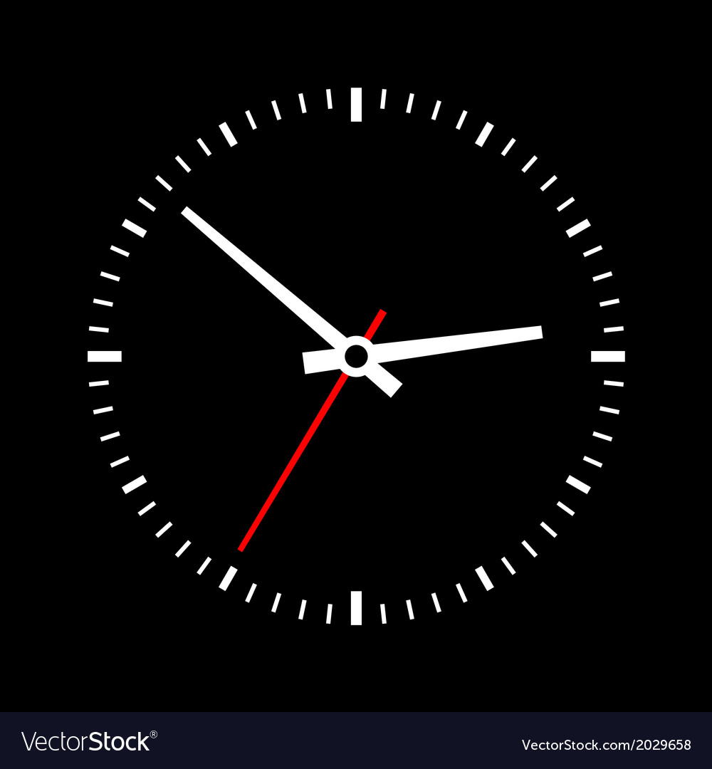 Clock dial on a black background vector