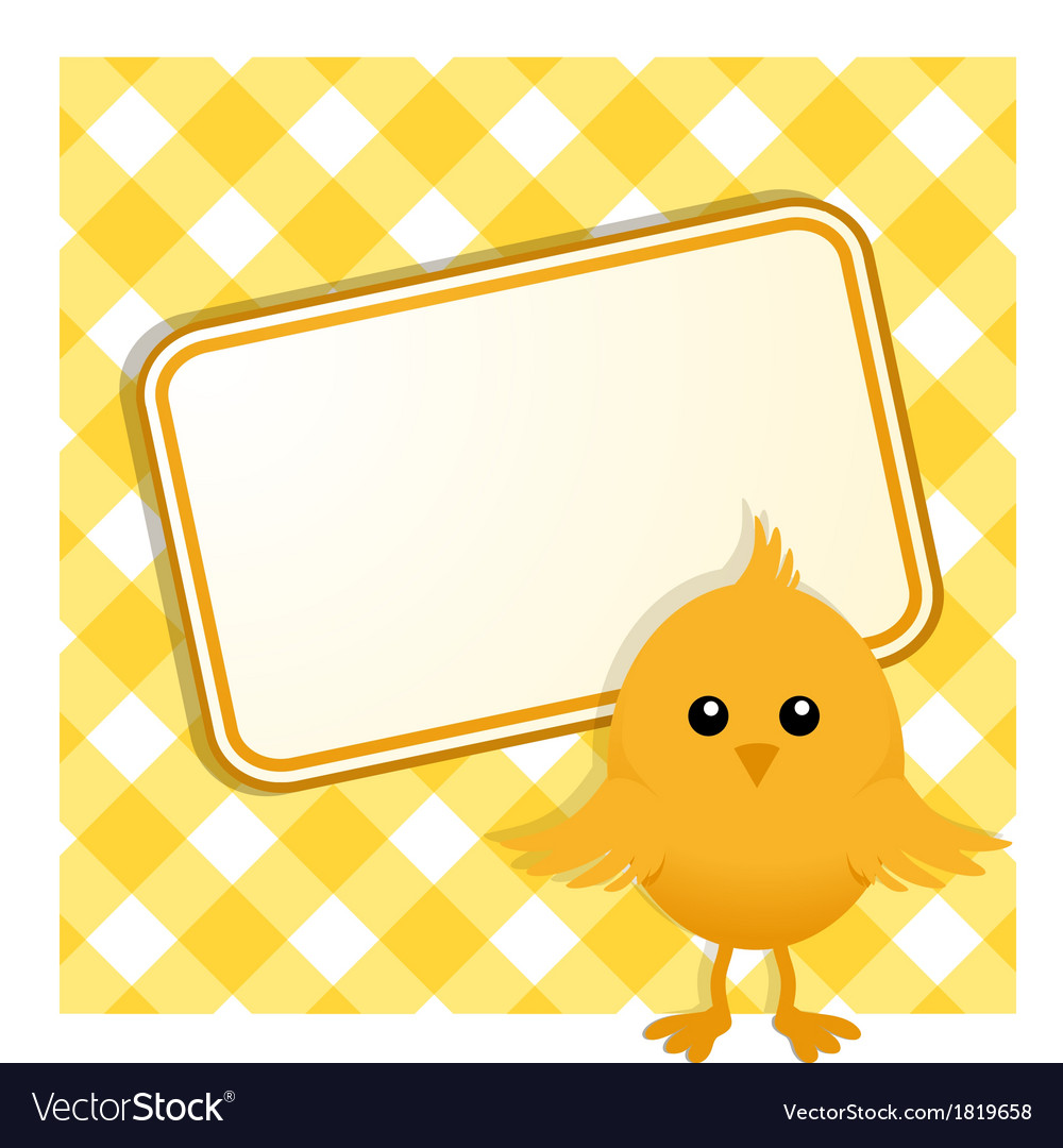 Easter chick and sign on gingham vector