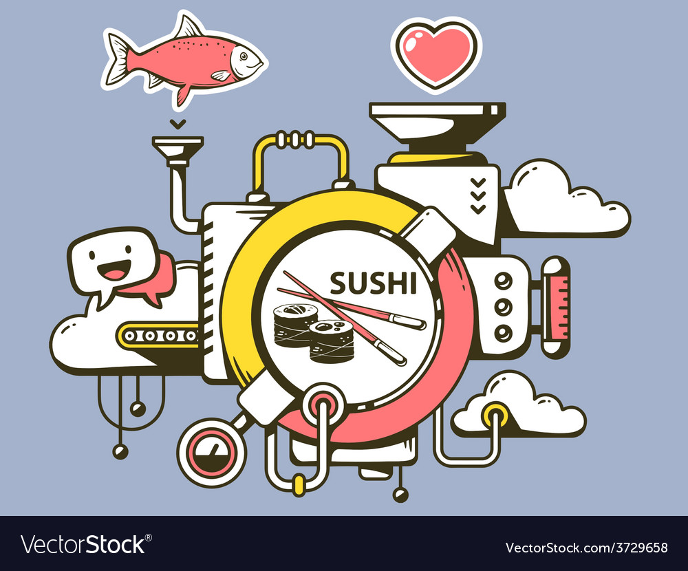 Mechanism to make sushi and relevant icon vector