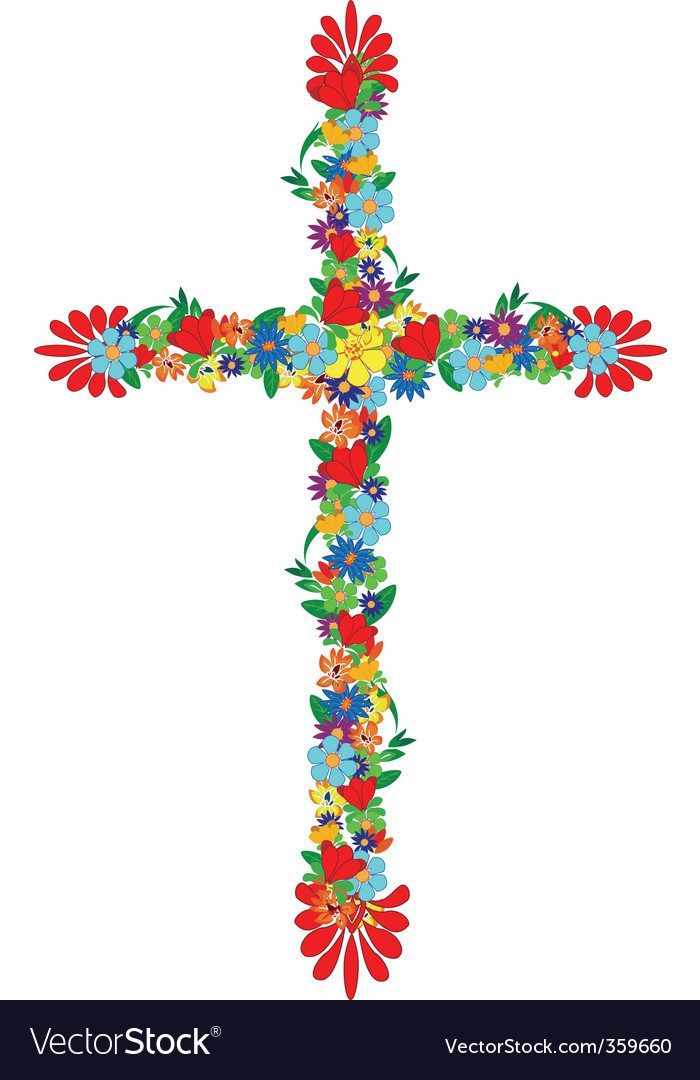 Flowers cross vector