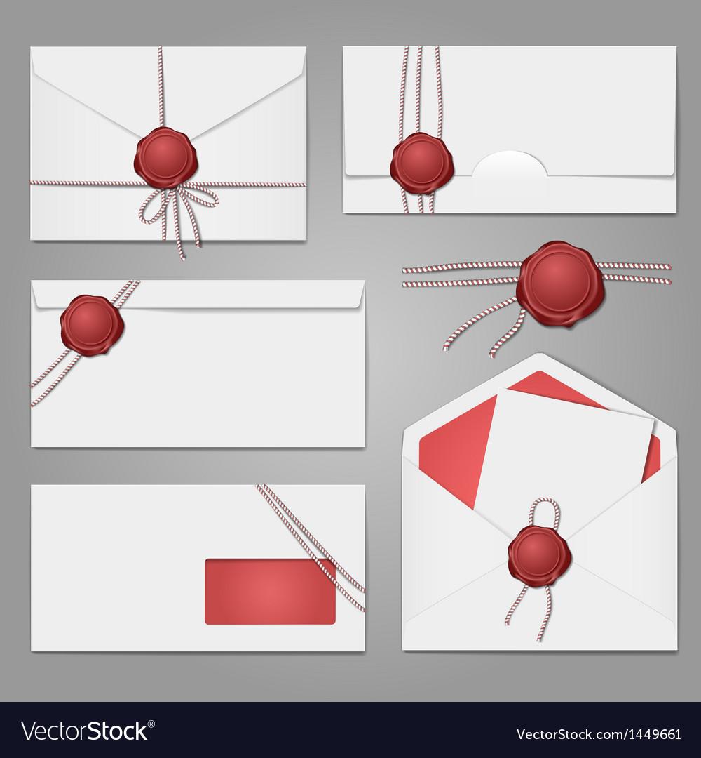 Envelopes with a wax seal set vector