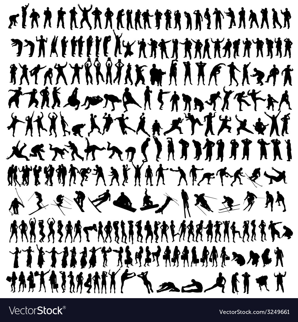 People black silhouette vector