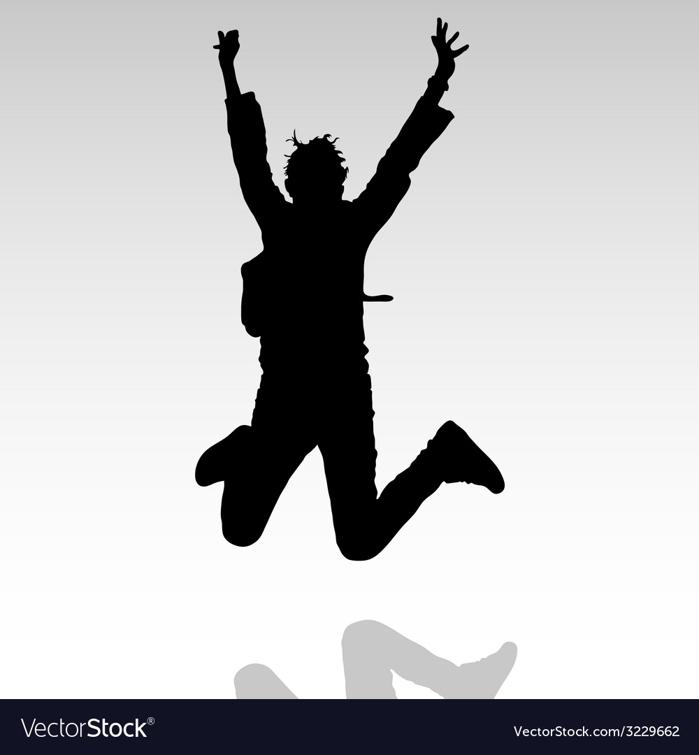 Jump in the air people silhouette vector
