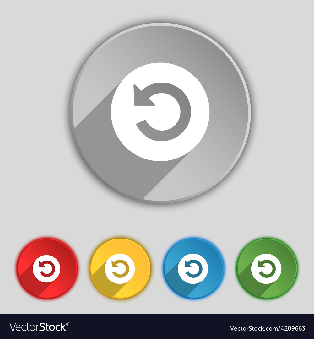 Icon sign symbol on five flat buttons vector