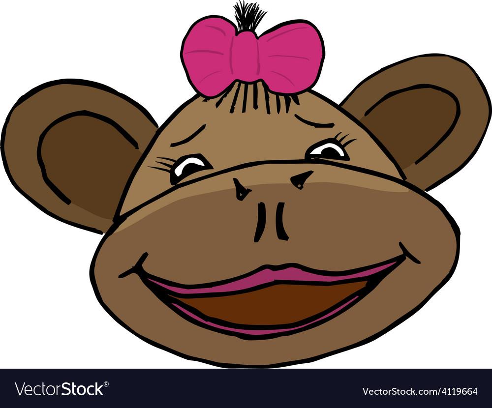 Cartoon style monkey head vector
