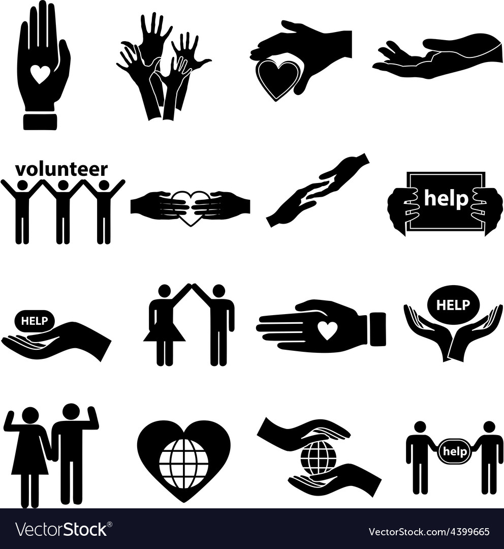 Volunteer help icons set vector