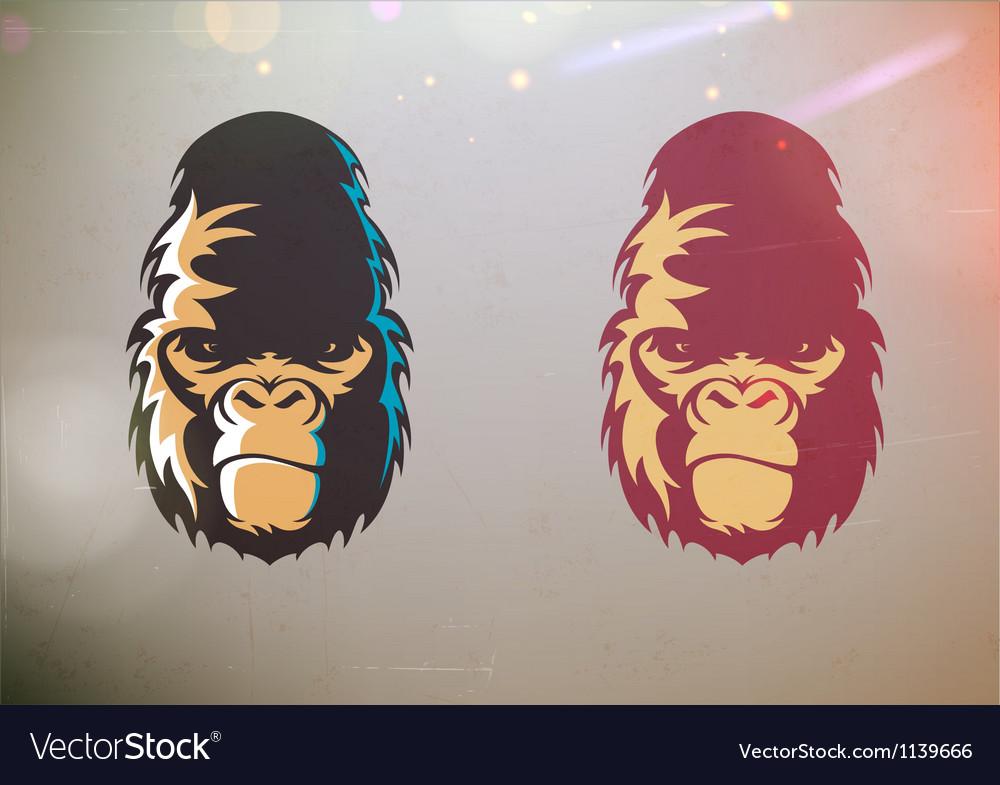 Stylized gorilla smirk face vector