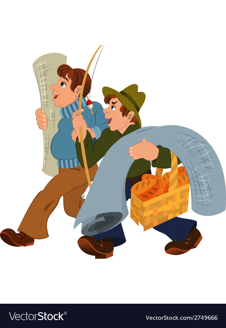 Two cartoon men walking together after shopping vector