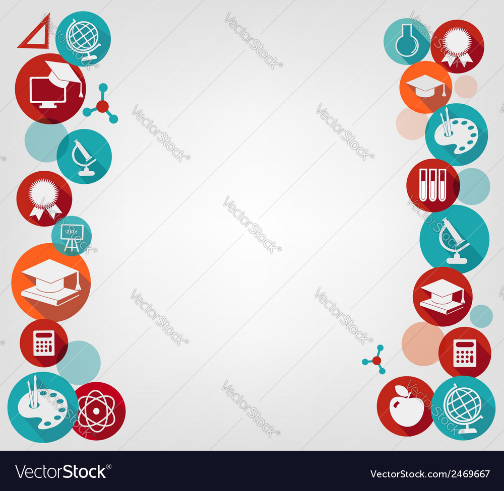 Education background with colorful icons vector