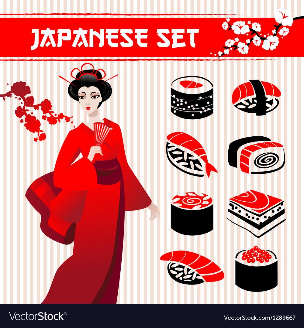 Japanese set vector