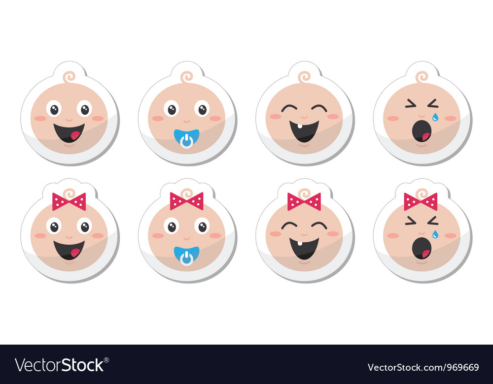 Baby boy baby girl face - crying with soother vector