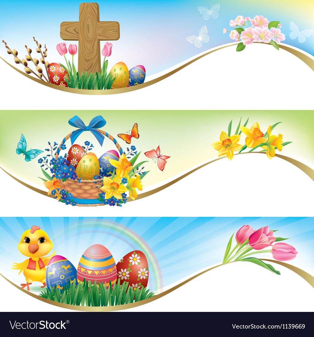 Easter horizontal banners vector