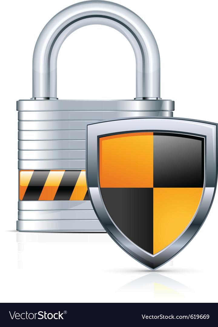 Metal padlock vector