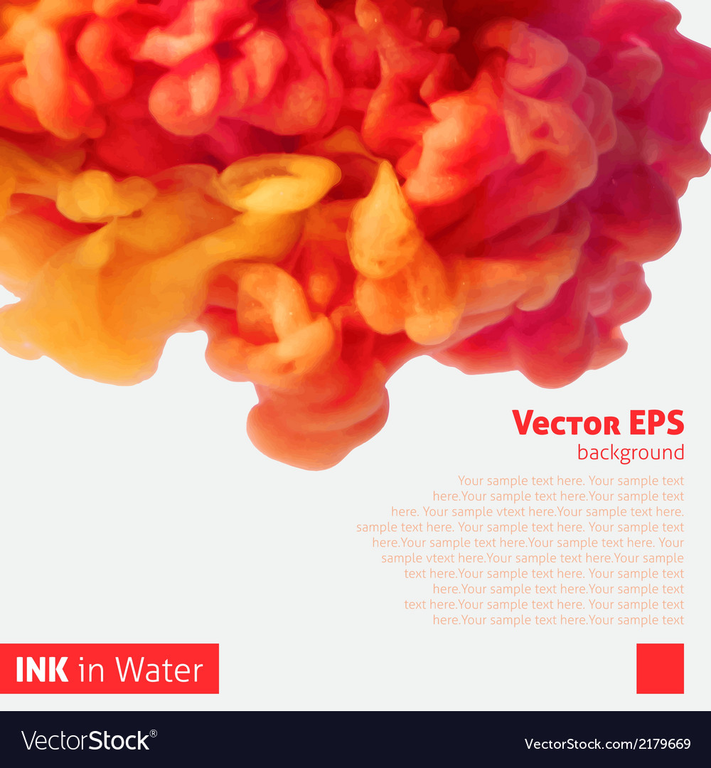 Orange color ink cloud in water vector