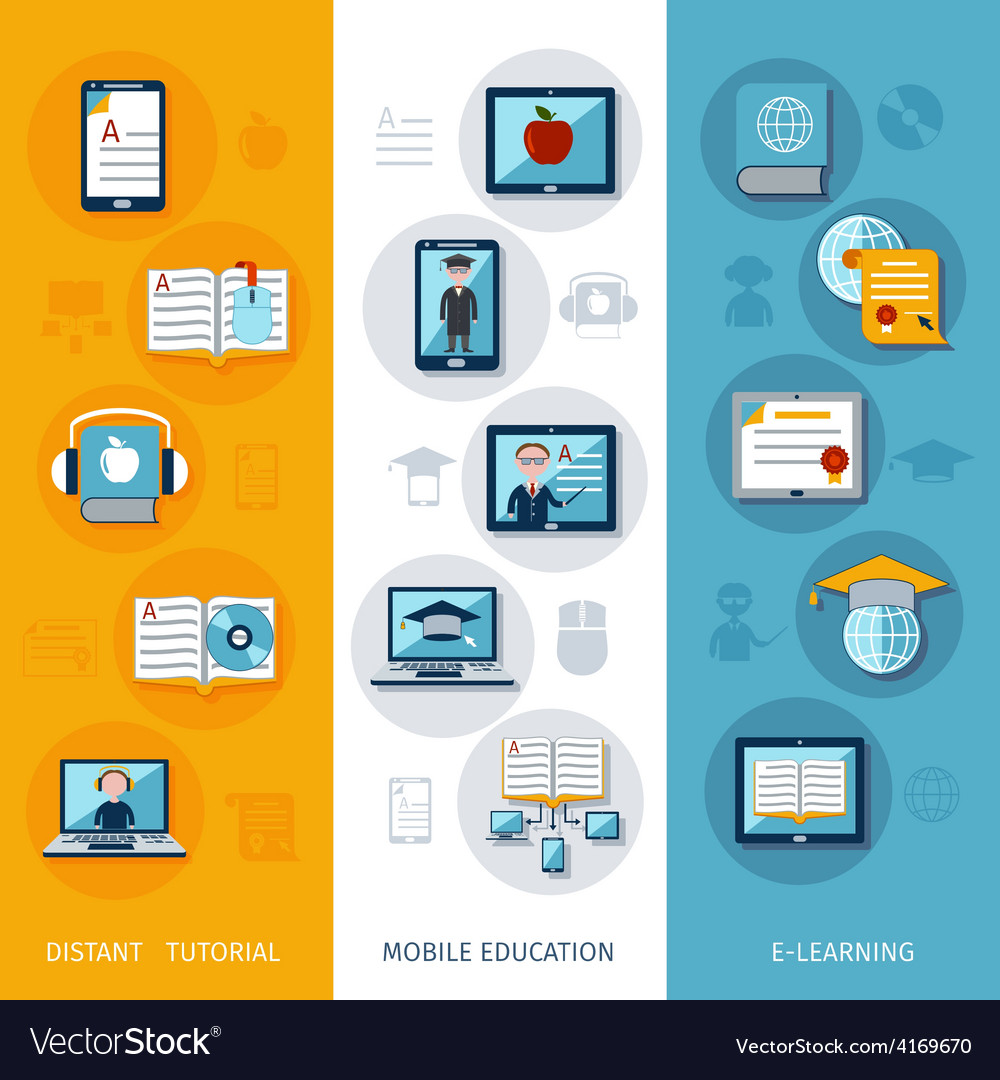 E-learning banners vertical vector